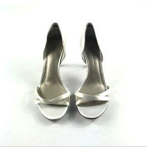 Aerin Women's White Silk Peep Toe Pumps